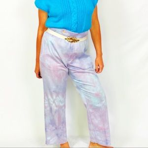 Tie Dye High Waisted Vintage Trousers Medium